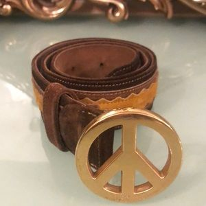 Moschino Accessories - Vintage MOSCHINO Suede Brown/Mustard Belt Size 40